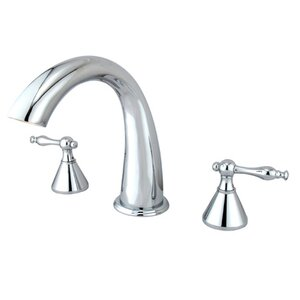 Double Handle Deck Mount Roman Tub Faucet Trim Naples Lever Handle