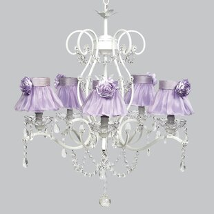 Purple shade chandeliers youll love wayfair grace 5 light shaded chandelier mozeypictures Images