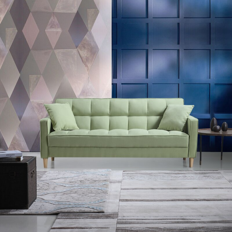 Modern Linen Fabric Tufted Small Space Sofa Amp Reviews