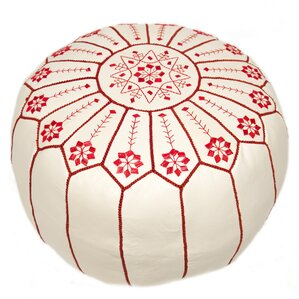 Moroccan Embroidered Leather Ottoman by Casa..