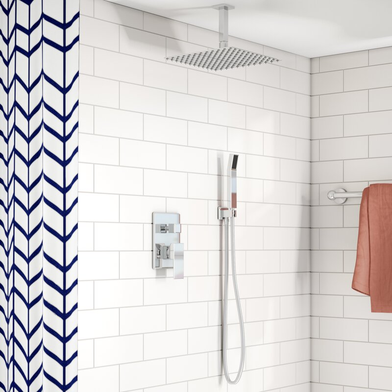 Rebrilliant Cahoon 12 Ceiling Mount Square Rain Shower And Handheld