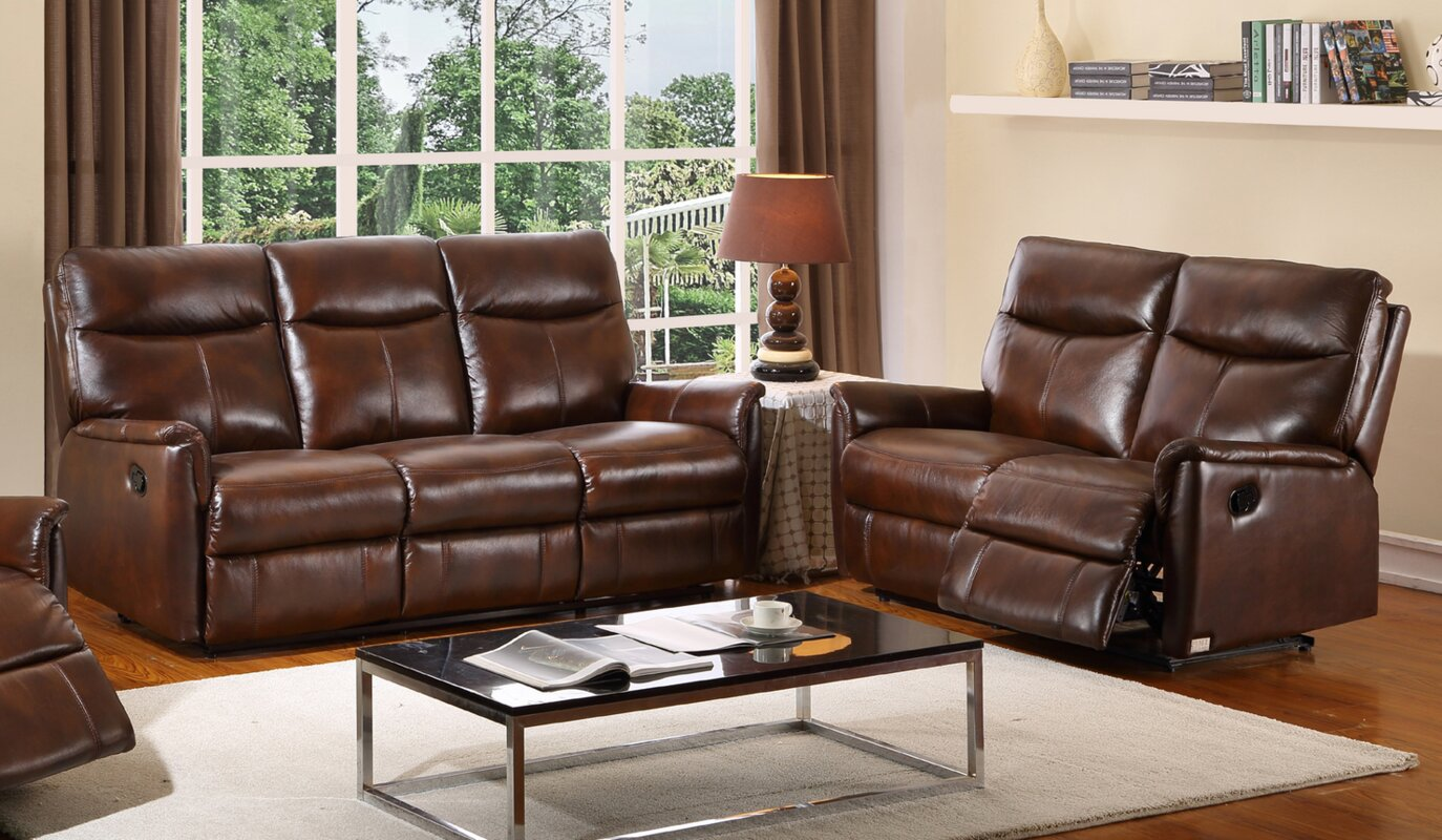Hyde Line Furniture Graham Leather 3 Seater Reclining Sofa  ~ Three Seater Recliner Sofa