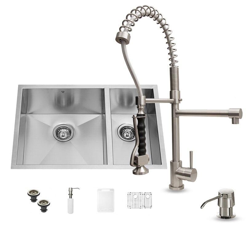 29 inch undermount 70 30 double bowl 16 gauge stainless steel kitchen sink with zurich vigo 29 inch undermount 70 30 double bowl 16 gauge stainless steel      rh   wayfair com