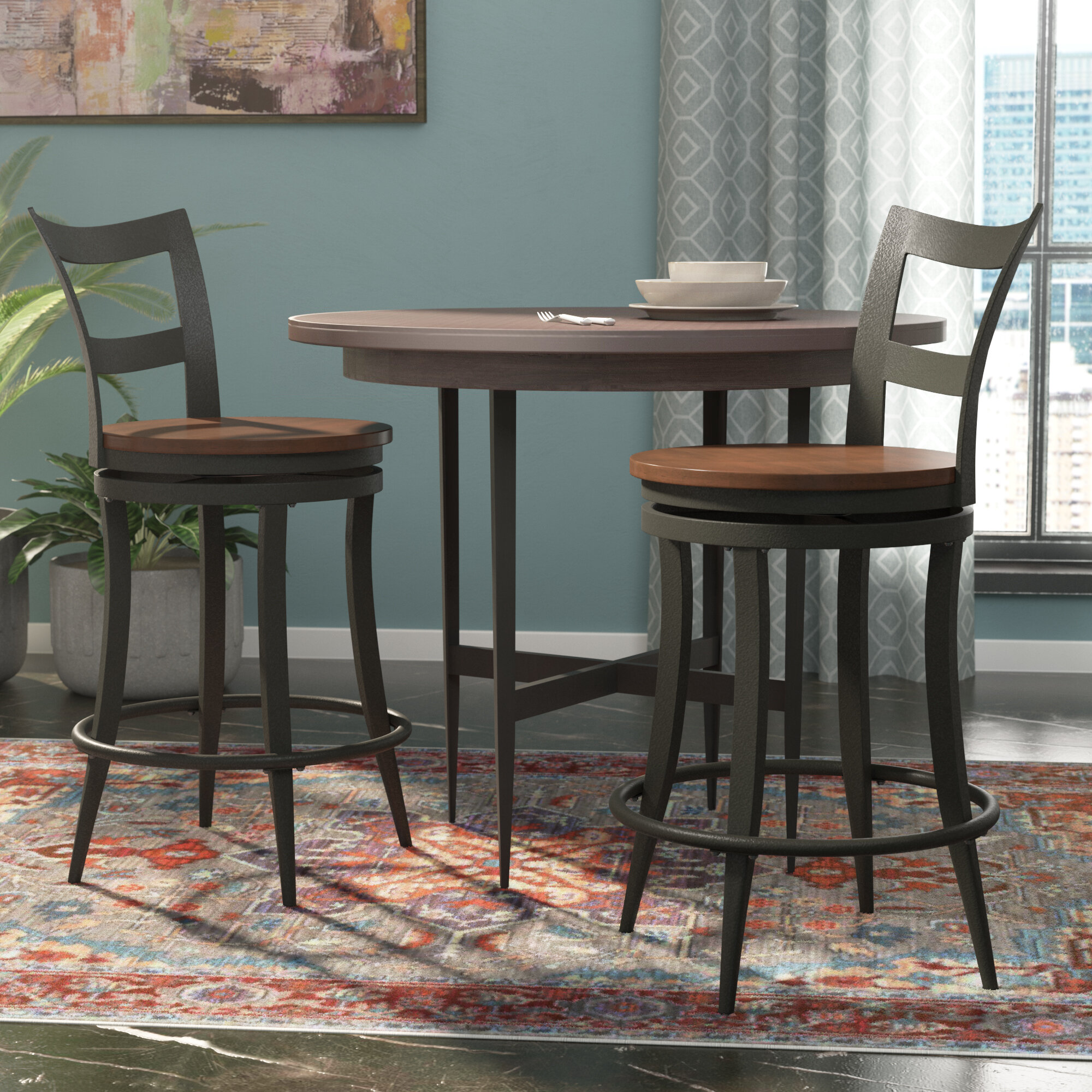 Andover Mills Giana 24 Swivel Bar Stool Reviews Wayfair