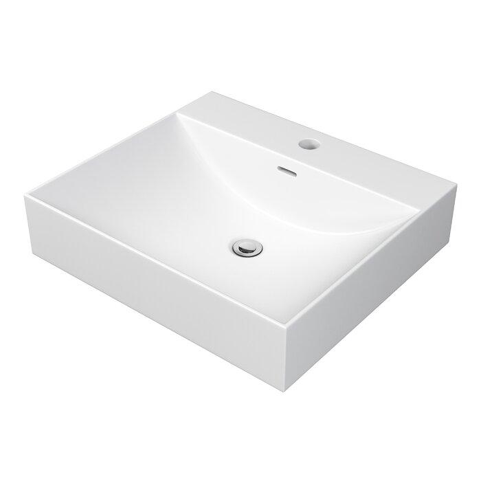 Lavabo de salle de bain rectangulaire avec trop-plein solidtech
