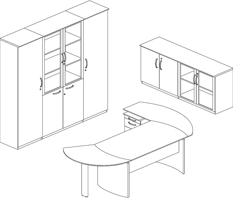 Mayline Napoli Series 4 Piece L Shape Desk Office Suite