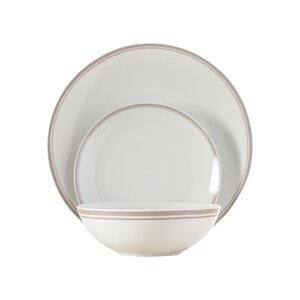 Wayfair Basics 12 Piece Striped Porcelain Dinnerware Set, Service for 4