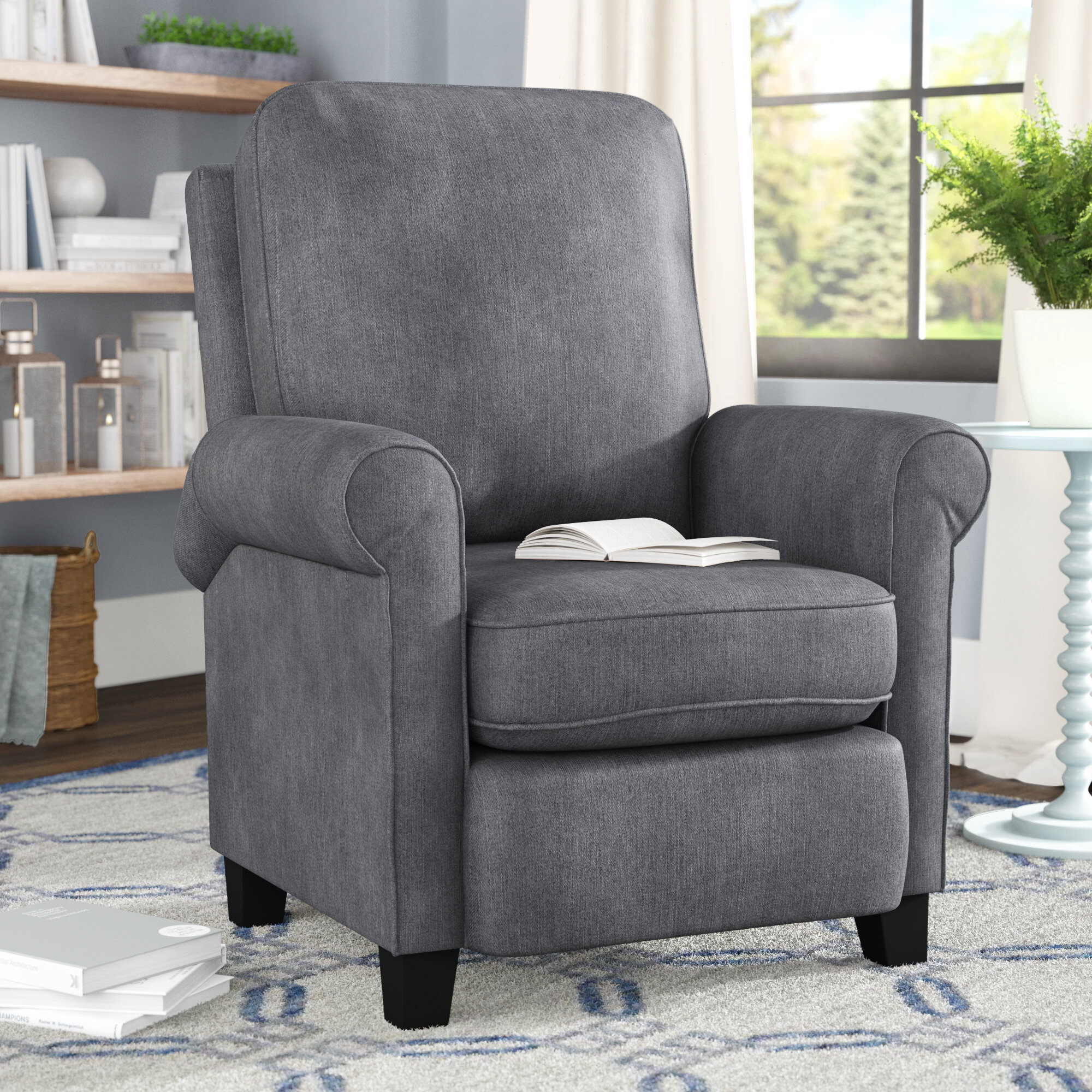 Winston porter bonzy manual recliner modern arm push back chair with roll tight armrest seat cushions living room reclining chair blue grey reviews