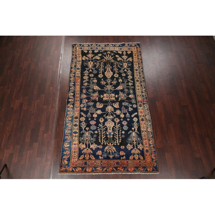 Nicolas All Over Navy Blue Persian Oriental Hand Knotted Wool Area Rug 9 4 X5 3