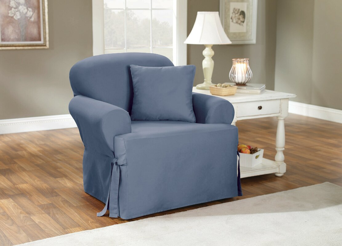 Wayfair Dining Room Chair Covers: Sure Fit Cotton Duck T-Cushion Armchair Slipcover