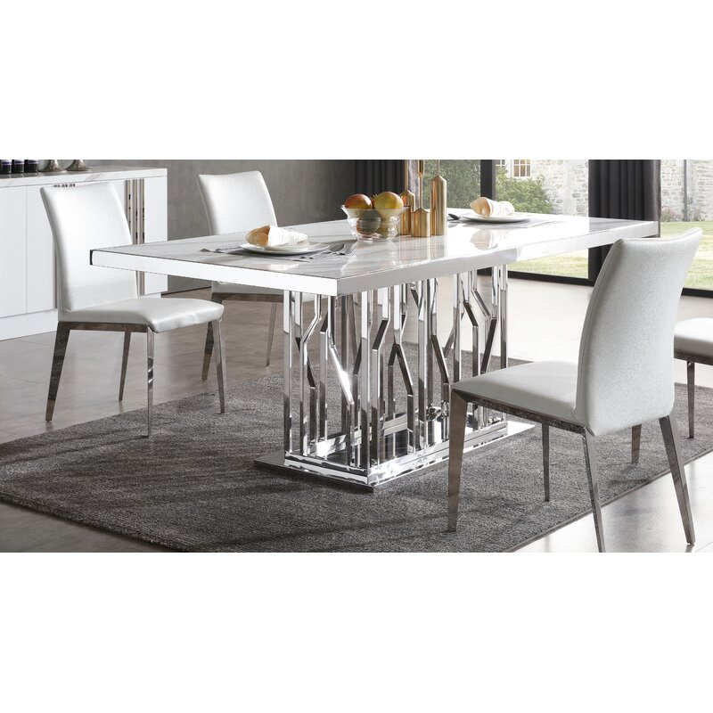 Marvelous Altus Marble And Stainless Steel Dining Table Download Free Architecture Designs Lukepmadebymaigaardcom
