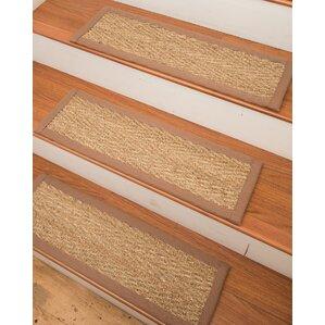 beach seagrass carpet beige stair tread set of 13