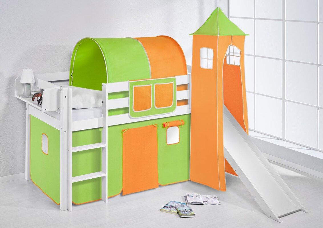 lilokids hochbett basic mit turm rutsche und vorhang 90 x 190 cm bewertungen. Black Bedroom Furniture Sets. Home Design Ideas