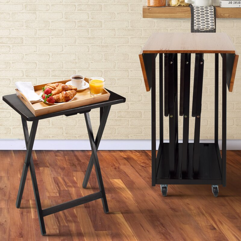 Axton Drop Leaf Table With TV Tray Table Set