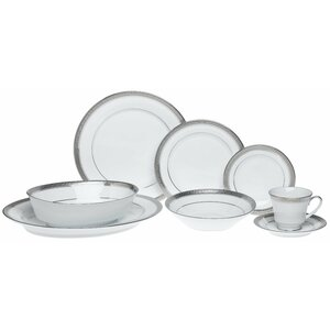 Crestwood Platinum 50 Piece Dinnerware Set, Service for 8