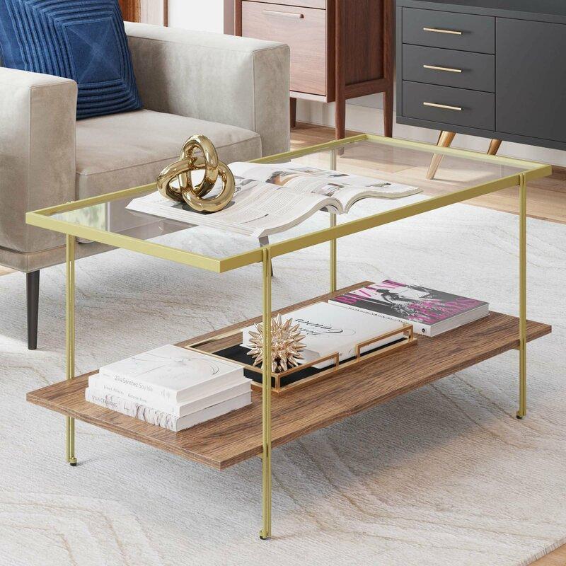 Gold Coffee Table Glass Top.Kays Mid Century Rectangle Gold Coffee Table With Glass Top Oak Floating Shelf Brass Metal Legs
