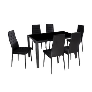 Modern Glass 7 Piece Dining Table Set
