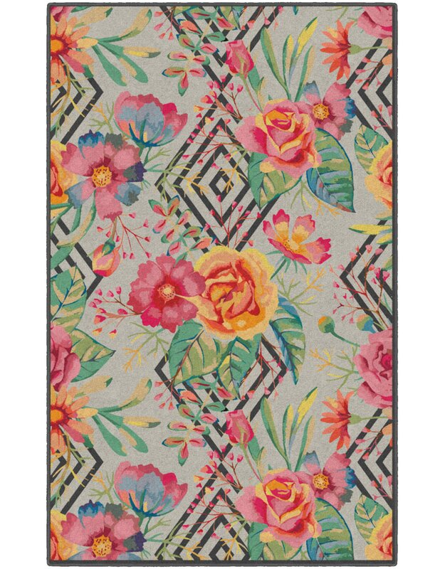 Ebern Designs Burnette Geometric Floral Red/Beige Area Rug, Size: Rectangle 76 x 10