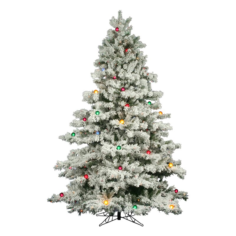 flocked alaskan 9 white artificial christmas tree with 900 dura lit and g50 multi