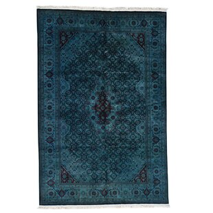 One Of A Kind Kenilworth Cast Overdyed Hamadan Worn Down Hand Knotted Dark Green Area Rug