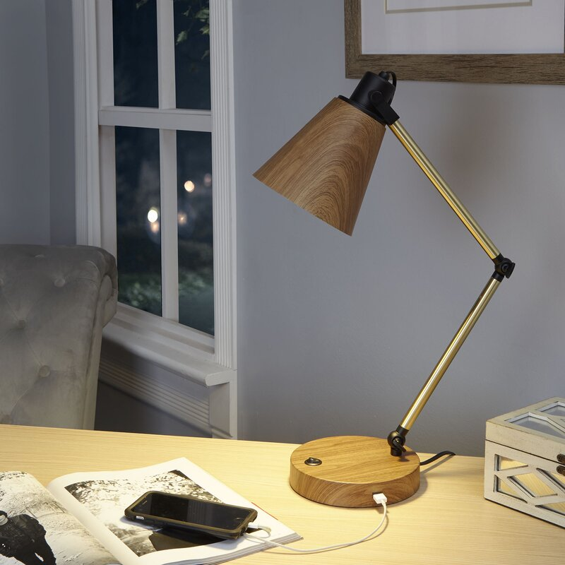 Ivy Bronx Amin Metal 17 Desk Lamp With Usb Port Wayfair