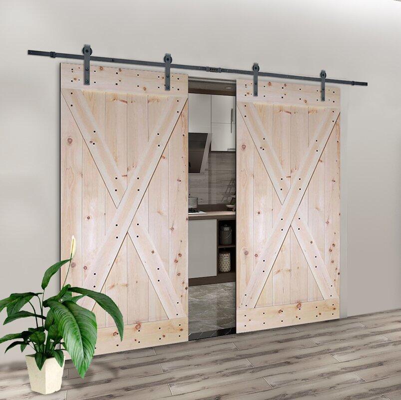 calhome solid room divider wood slab interior barn door. Black Bedroom Furniture Sets. Home Design Ideas