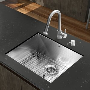 VIGO 23 inch Undermount Single Bowl 16 Gauge Stainless Steel Kitchen Sink with Harrison Chrome Faucet, Grid, Strainer and ...