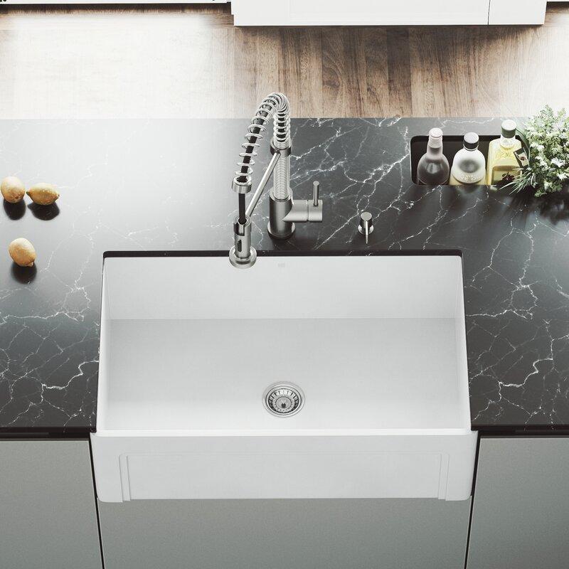 Vigo Matte Stone 30 L X 18 W Farmhouse Kitchen Sink With Faucet