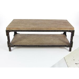Louis Solid Wood Coffee Table With Magazine Rack
