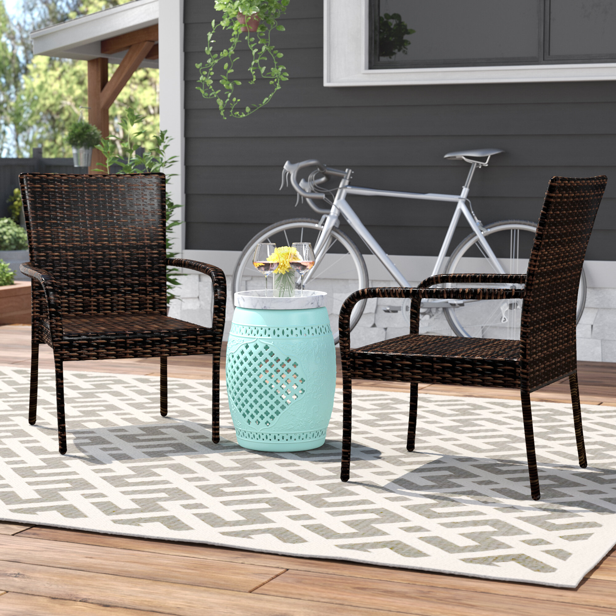 Mercury Row Hawes Outdoor Wicker Patio Chair & Reviews