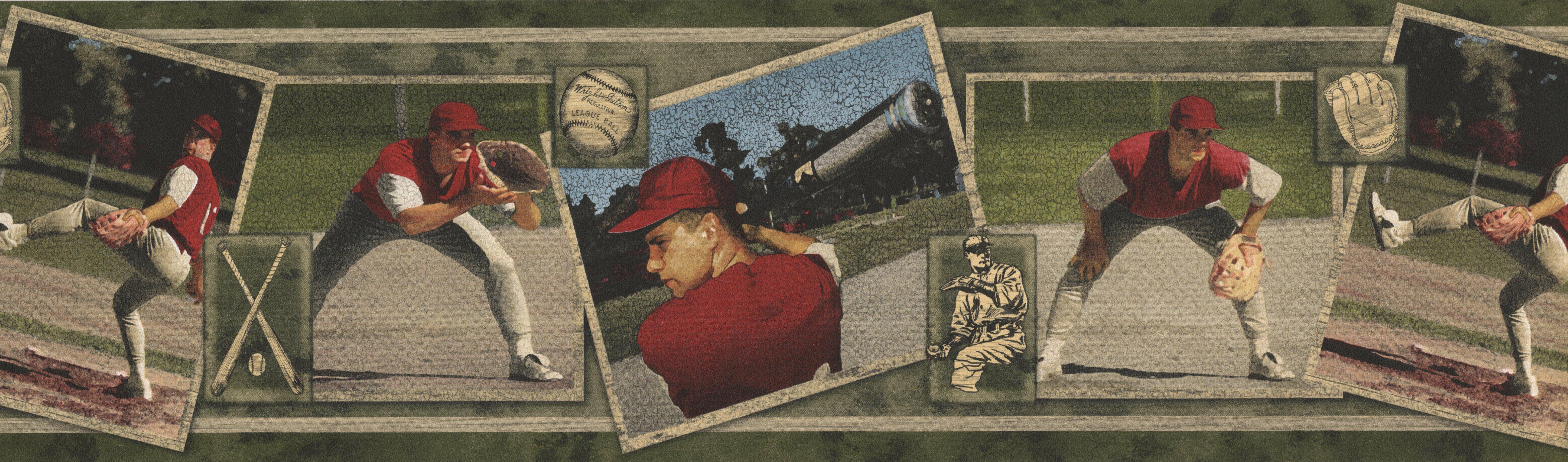 Winston Porter Durand Vintage Baseball Cards Sports Retro Cracked 15' L x  7'' W Wallpaper Border | Wayfair