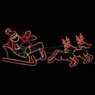Animated Waving Santa In Sleigh Rope Light
