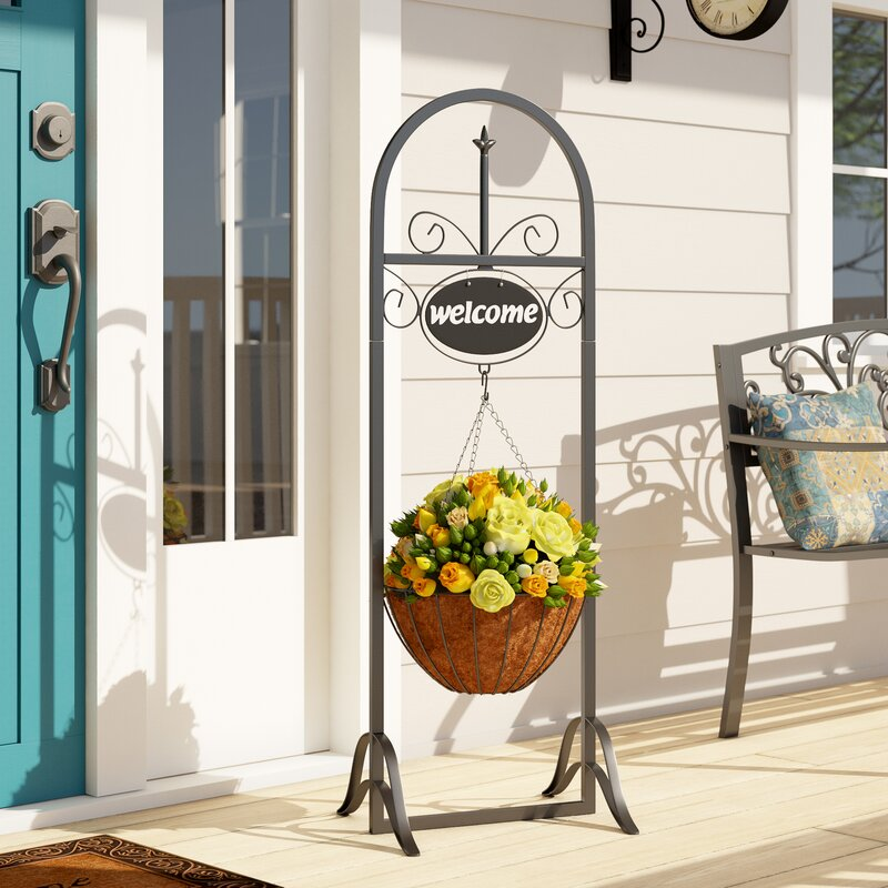 Fleur De Lis Living Lowestoft Outdoor Decorative Welcome Sign With Hanging Basket Planter Stand Reviews Wayfair