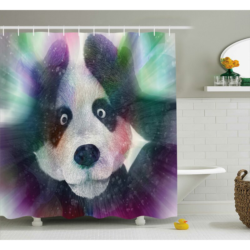 Fabric Psychedelic Panda Shower Curtain