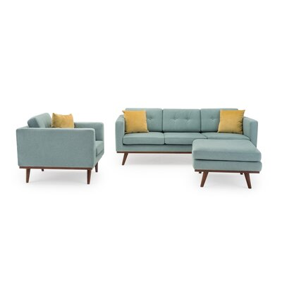 George Oliver Eye 3 Piece Living Room Set Upholstery Color: Pigeon Blue