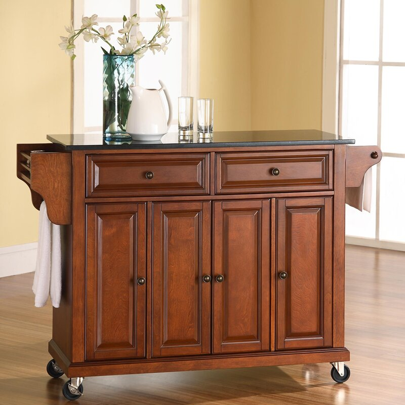 kitchen island furniture darby home co pottstown kitchen island with granite top 13466