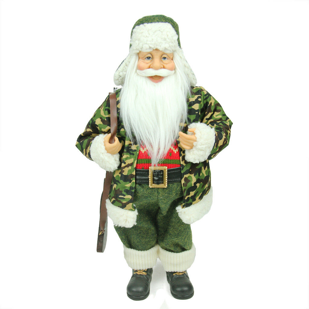 northlight santa claus in camouflage with hunting rifle christmas decoration wayfair