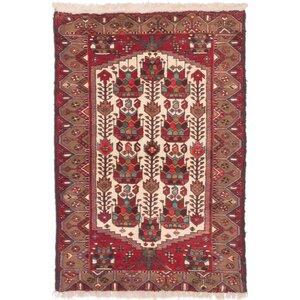 One-of-a-Kind Koliai Hand-Knotted Red/Beige Area Rug