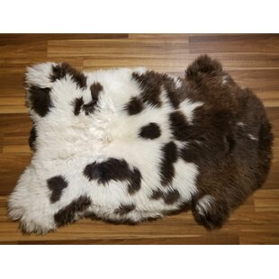 Redman Sheepskin/Wool Brown/White Area Rug By Millwood Pines