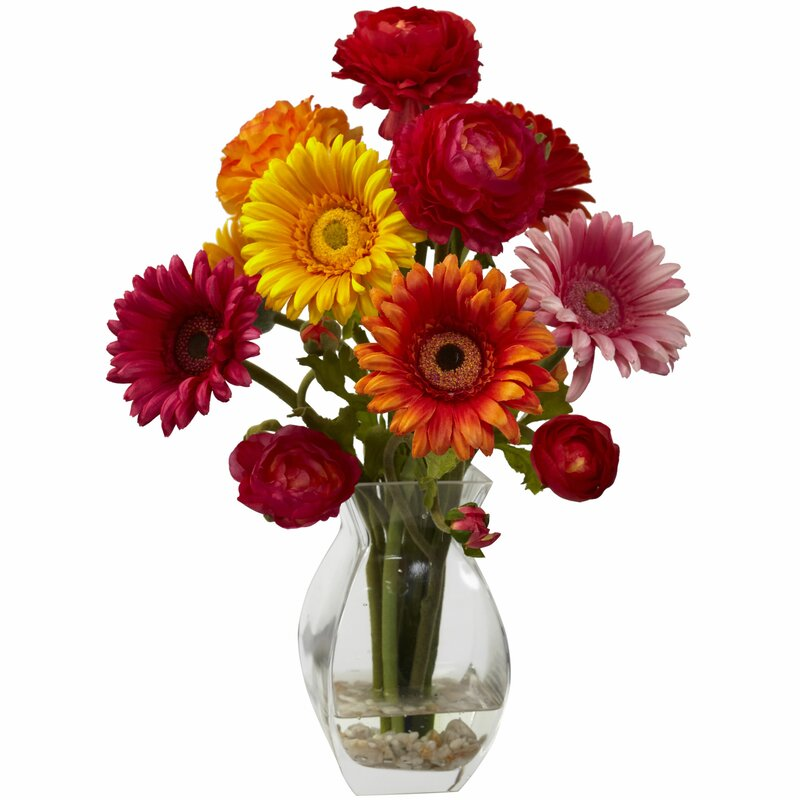 August Grove Gerber Daisy And Ranunculus Delight Arrangement In