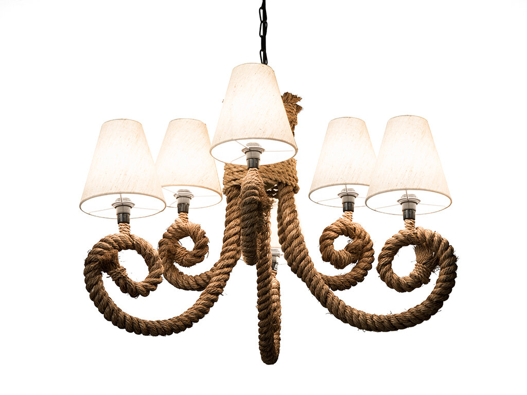 Crenshaw rope candelabra 6 light shaded chandelier