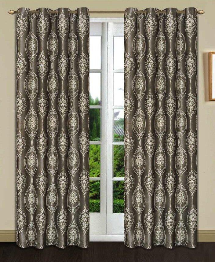 Monaco Damask Room Darkening Single Curtain Panel