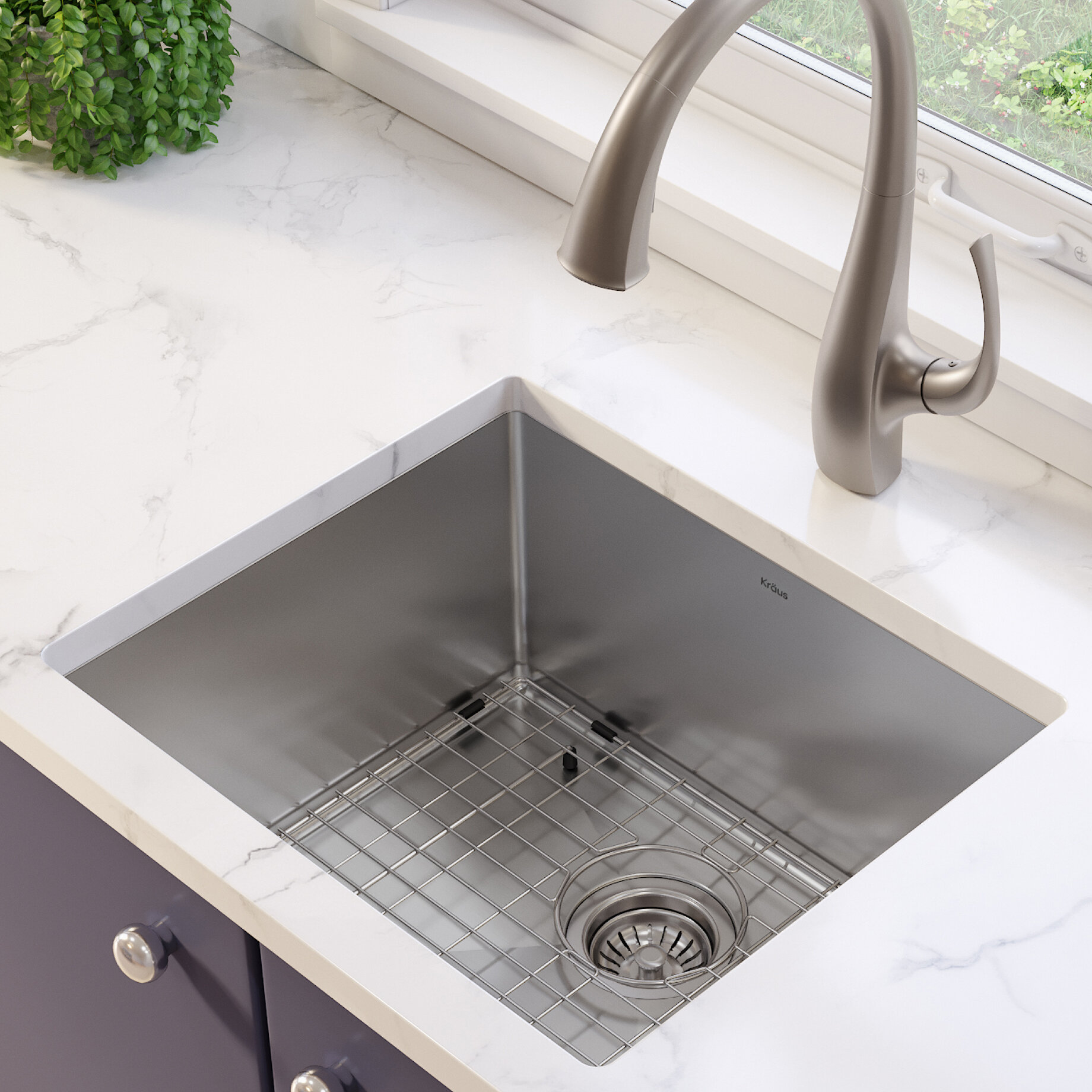 Khu101 21 Standart Pro 16 Gauge X 18 Undermount Kitchen Sink With Bottom Grid Drain Embly And Cap
