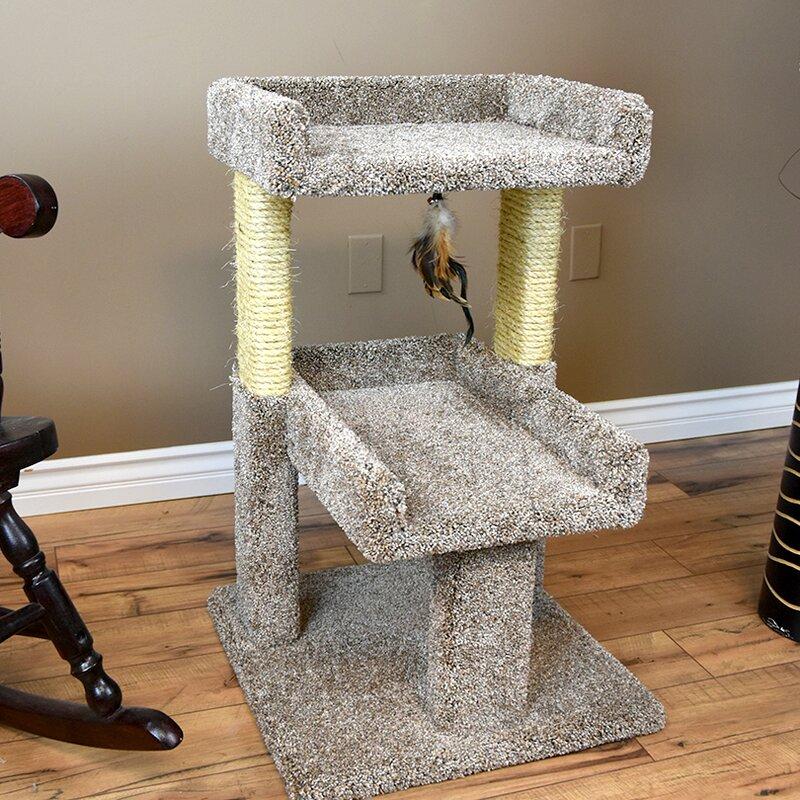 New Cat Condos 32 Carpeted Solid Wood Cat Tree Reviews Wayfair