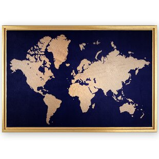 World map framed art youll love wayfair framed world map rectangle graphic art print on canvas gumiabroncs Image collections