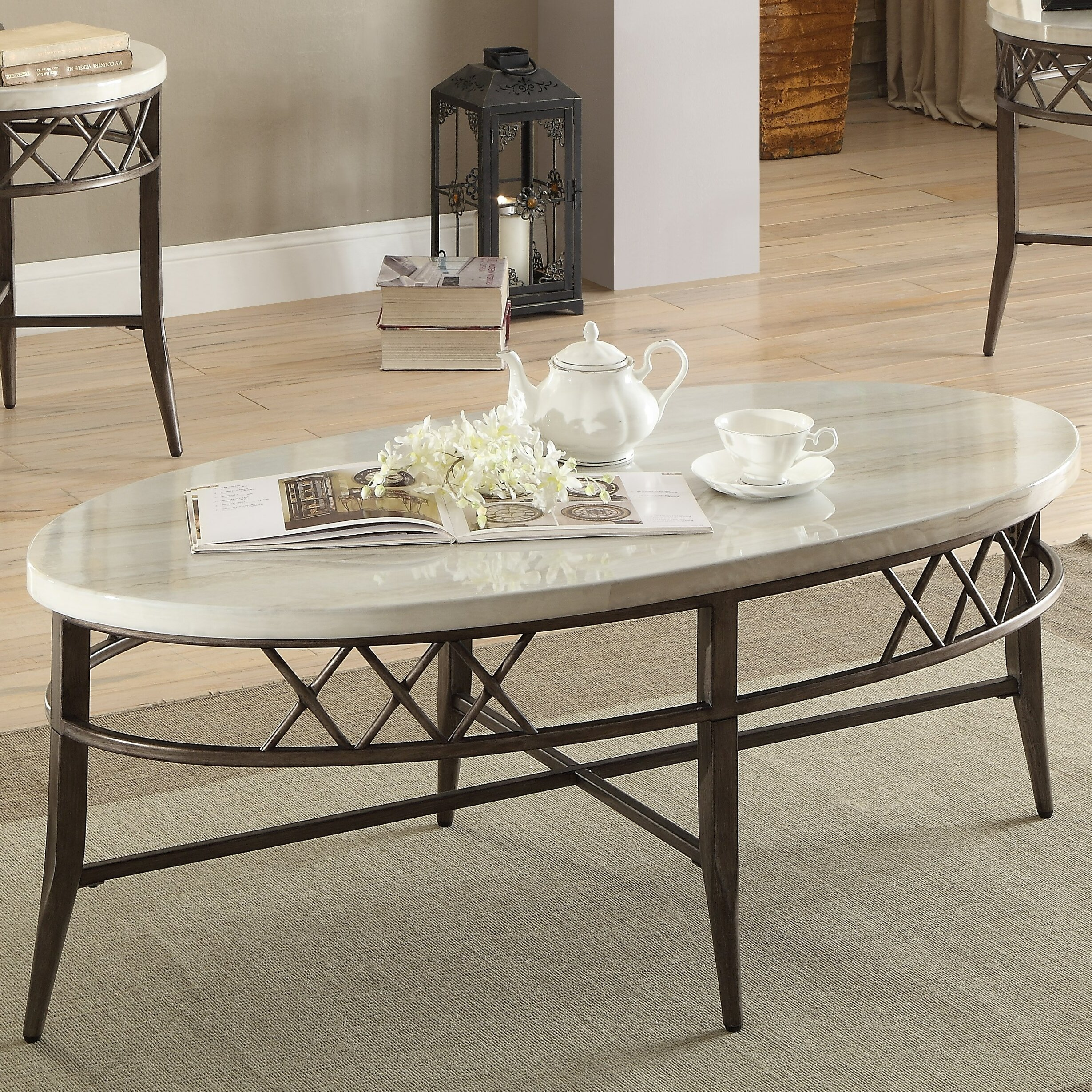 ACME Furniture Aldric Faux Marble 3 Piece Coffee Table Set