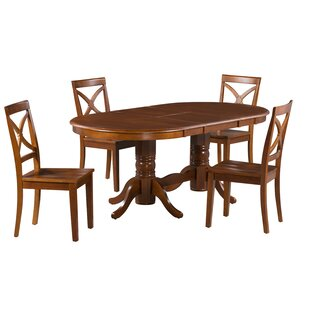 Rylee 5 Piece Extendable Solid Wood Dining Set Great Reviews