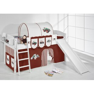 Tractor European Single Mid Sleeper Bed with Bottom Bunk Curtain by Just Kids