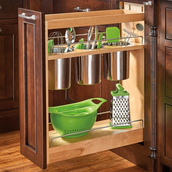 "Pull Out Sliding Metal Kitchen Pot Cabinet Storage: Rev-A-Shelf 8"" Pull-Out Cabinet Utensil Organizer"