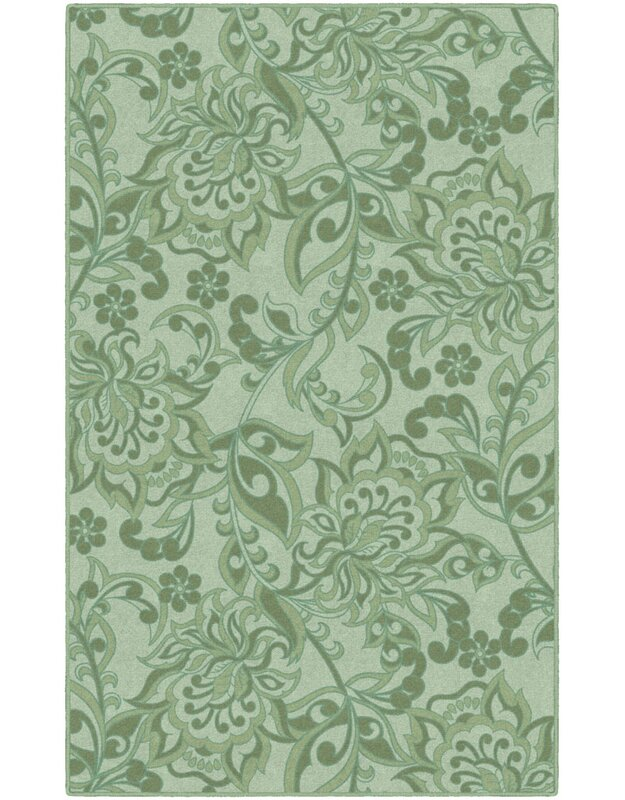 Winston Porter Unique Traditional Floral Green Area Rug, Size: Rectangle 76 x 10